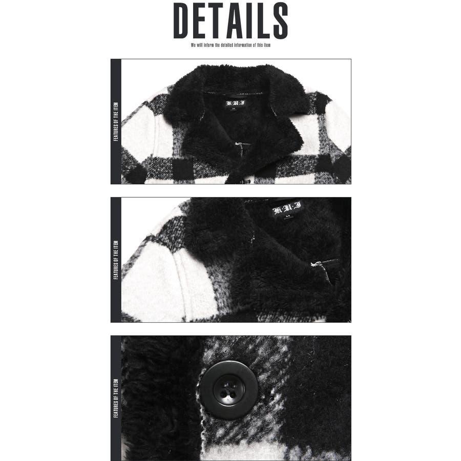 コート メンズ ランチコート 裏ボア ウール チェック アウター ボア BITTERビター系【裏ボアチェック柄ウールランチコート】ハーフコート ハーフ 裏起毛 ウール混 アメカジ サーフ surf カジュアル 秋冬 冬暖かい 羽織り ニット ブロックチェック ファッション 8