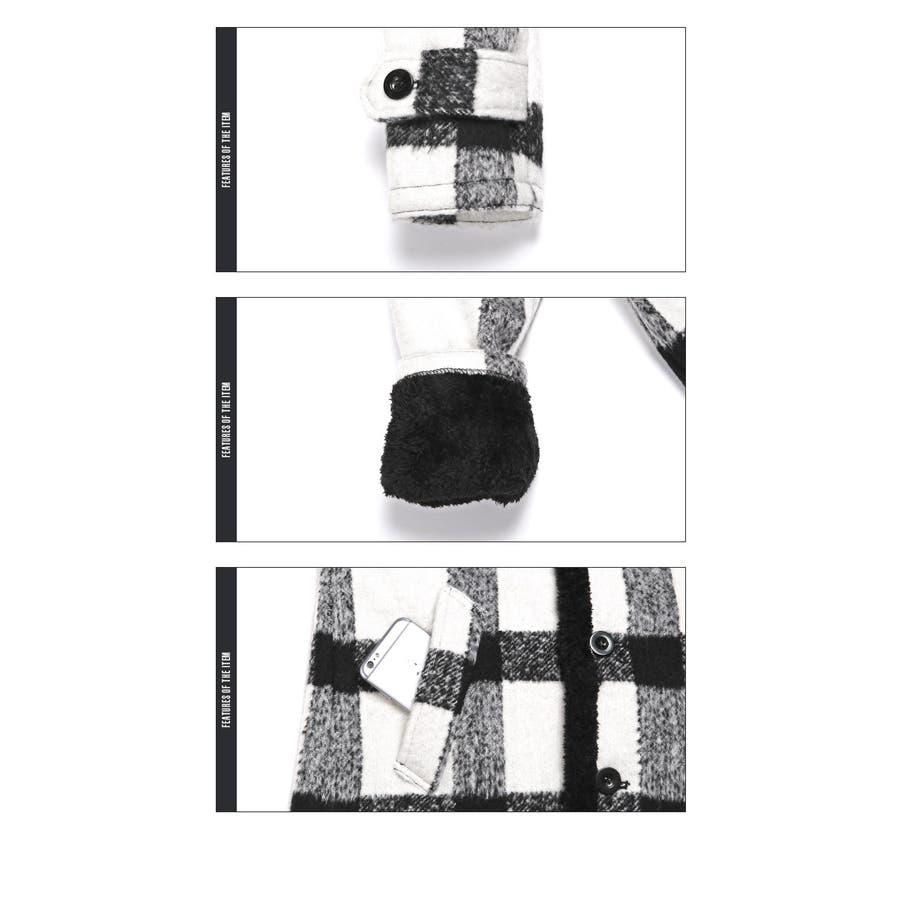 コート メンズ ランチコート 裏ボア ウール チェック アウター ボア BITTERビター系【裏ボアチェック柄ウールランチコート】ハーフコート ハーフ 裏起毛 ウール混 アメカジ サーフ surf カジュアル 秋冬 冬暖かい 羽織り ニット ブロックチェック ファッション 9