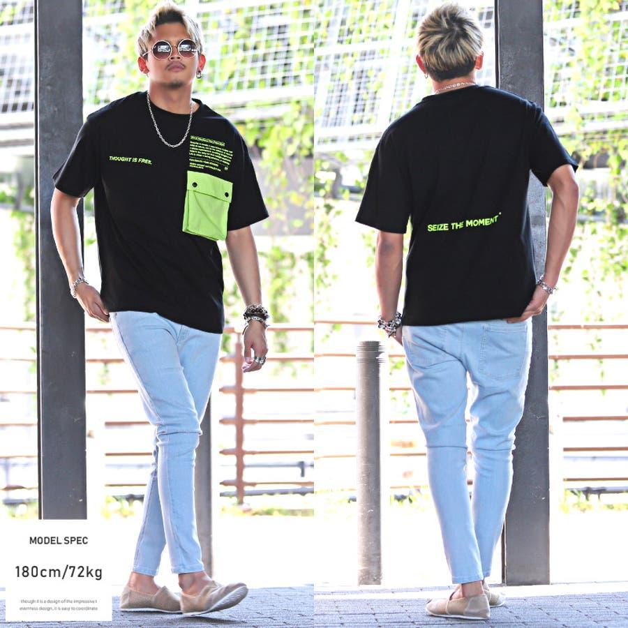 Tシャツ メンズ 半袖 ビッグシルエット ポケット ロゴ プリント【配色ポケット半袖Tシャツ】メンズTシャツ 半袖シャツ カットソーポケットTシャツ フラップポケット ビビッドカラー ホワイト ブラック ストリート ビター系 BITTER pm-9624 7