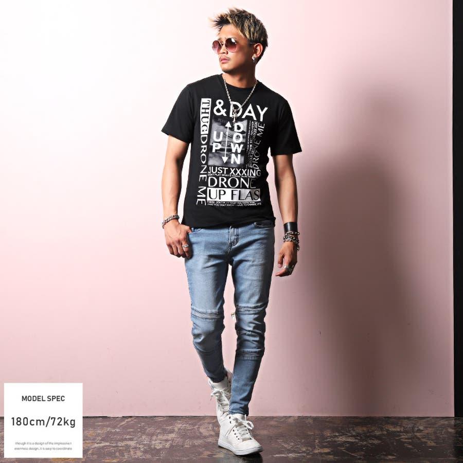 Tシャツ メンズ 半袖 フォト プリント ロゴ【風景フォトミラーシート半袖Tシャツ】メンズTシャツ 半袖Tシャツ プリントTシャツミラーシート 反射 貼り付け 風景 看板 アメカジ ホワイト ブラック タイト 細身 ビター系 BITTER pm-9728 5