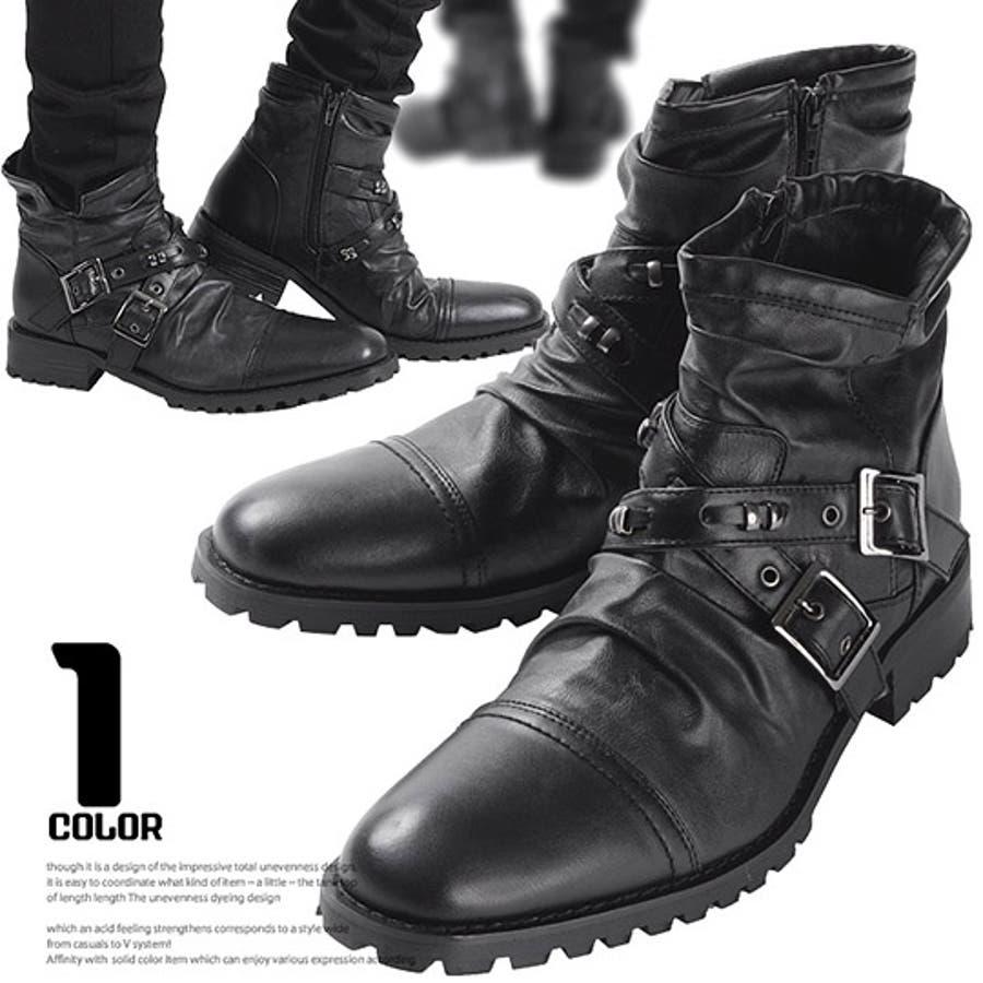 メンズ ブーツ ショートブーツ【Bracciano(ブラッチャーノ)ベルトデザインショートエンジニアブーツ】エンジニア