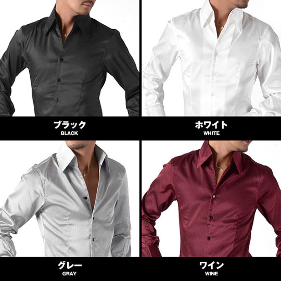 ホスト シャツ お兄系【サテン光沢シャドーストライプスキッパードレスシャツ】 メンズ サテン