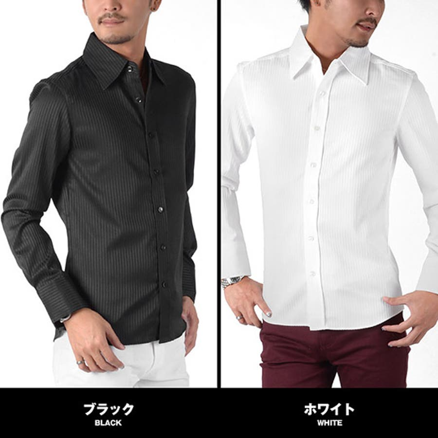 お兄系 メンズ シャツ【シャドーストライプドレスシャツ】お兄系シャツ ドレス