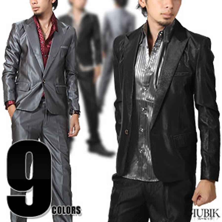 お兄系 スーツ【RUBIK(ルービック)ピークドラペル1Bラグジュアリーセットアップスーツ】