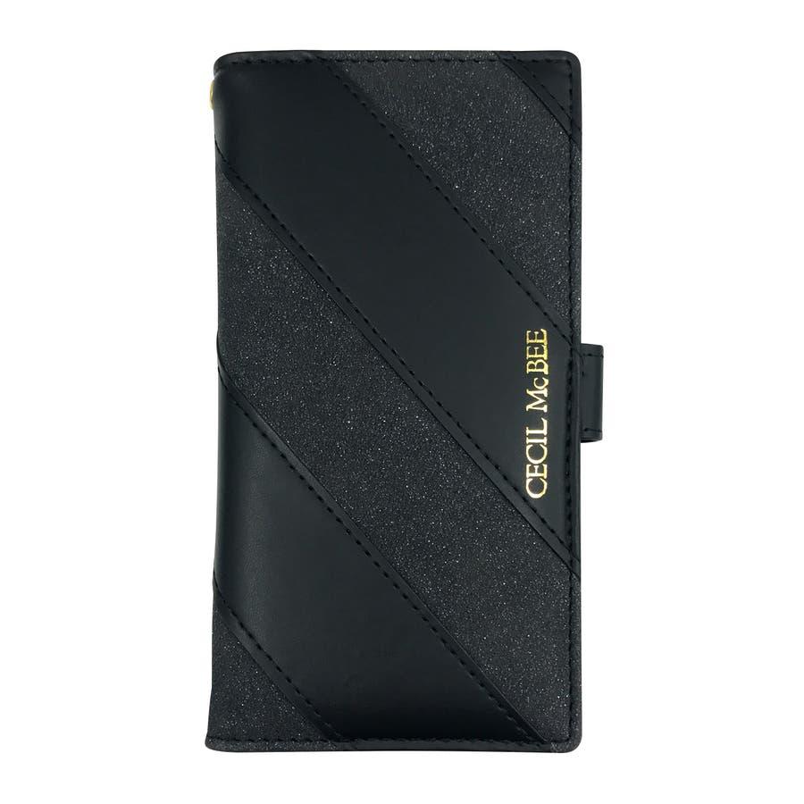 多機種対応 CECILMcBEE 「ダイアゴナルストライプ」 セシルマクビー マルチ 手帳ケース XperiaエクスペリアGalaxy ギャラクシー iphone アイフォン 2