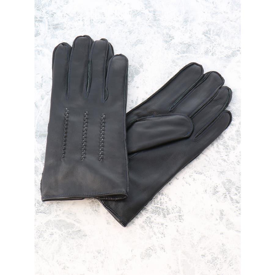 TAKA-Q/ALEXANDER JULIAN:タッチパネル対応 シープスキン グローブ/手袋 ステッチ 2
