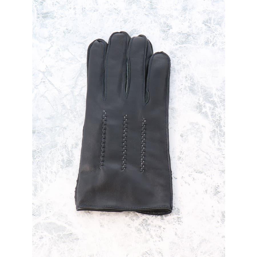 TAKA-Q/ALEXANDER JULIAN:タッチパネル対応 シープスキン グローブ/手袋 ステッチ 3