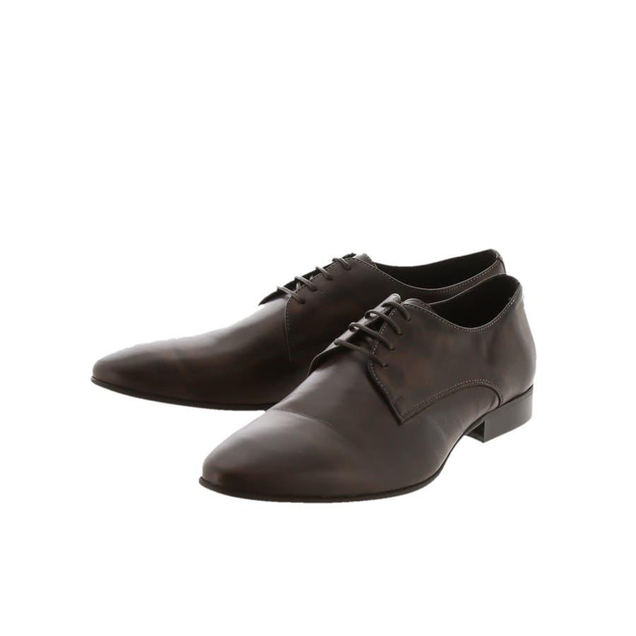 around the shoes:MADE IN PORTUGAL ウォッシュドレザー外羽根プレーントゥビジネスドレスシューズ 2