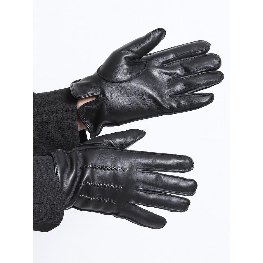 TAKA-Q/ALEXANDER JULIAN:タッチパネル対応 シープスキン グローブ/手袋 ステッチ 1