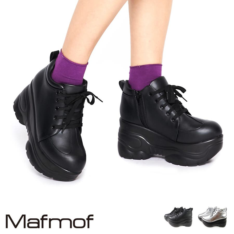 Mafmof 厚底ダッドスニーカー レディース ブラック/シルバー S/M/L/LL 257a19 1