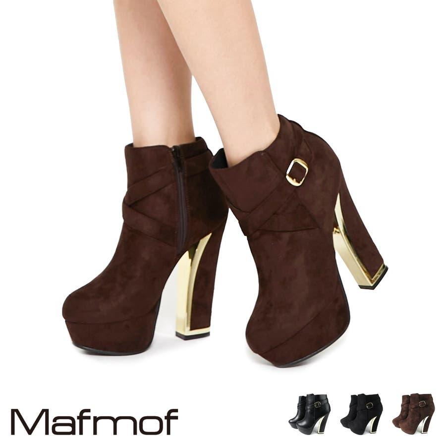 Mafmof ベルト付きゴールドラインヒールショートブーツ レディース ブラック/ダークブラウン S/M/L/LL 549a19 1