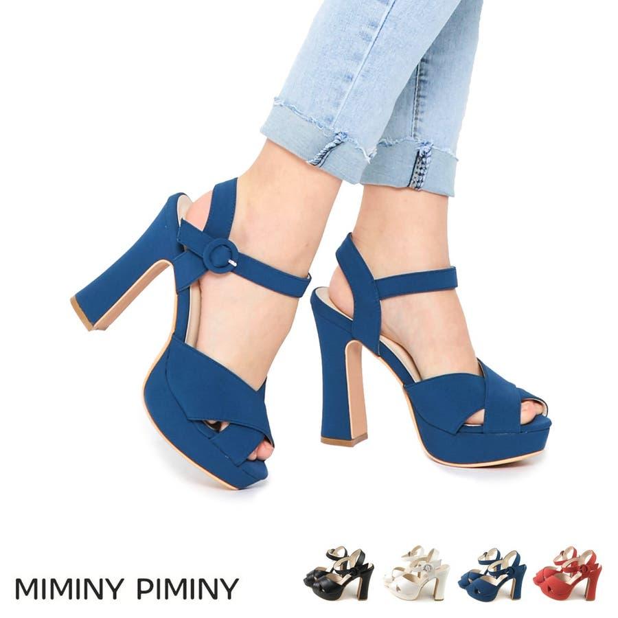 MiminyPiminy クロスベルトのアンクルベルトサンダル レディース ブラック/ホワイト/ブルー/オレンジ S/M/L/LL7949s20 1