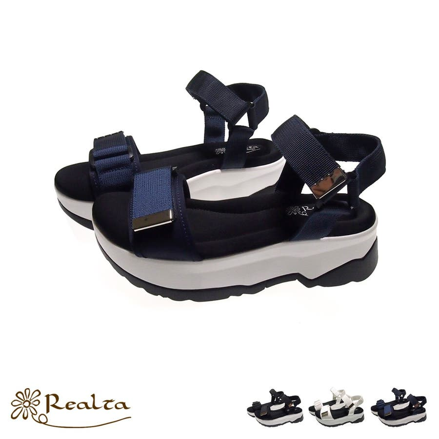 Realta ナイロンベルクロスポーツサンダル レディース ブラック/ホワイト/ネイビー S/M/L/LL 1427s20 1