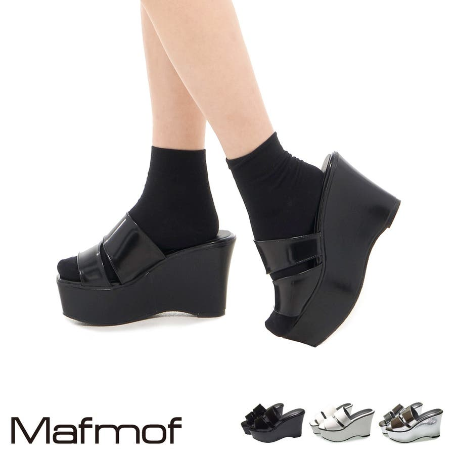 Mafmof 斜めダブルベルトのミュールサンダル レディース ブラック/ホワイト/シルバー S/M/L/LL 453s20 1