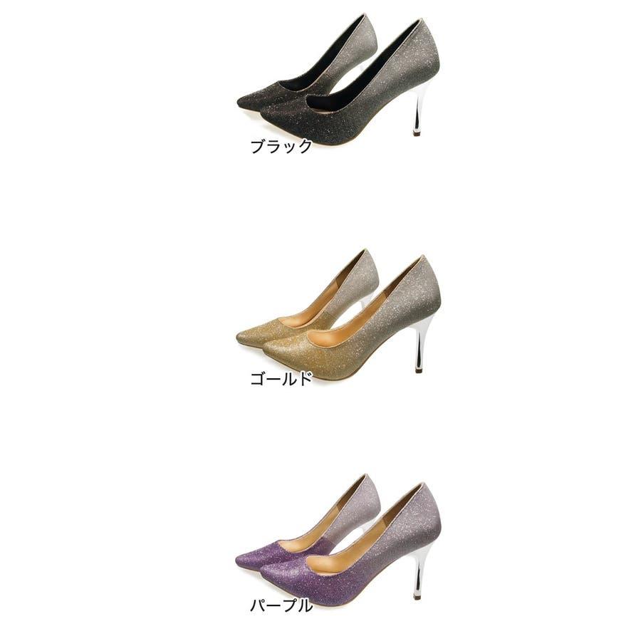 Mafmof ラメカラーグラデーションピンヒールパンプス レディース ブラック/ゴールド/パープル S/M/L/LL 627s20 2