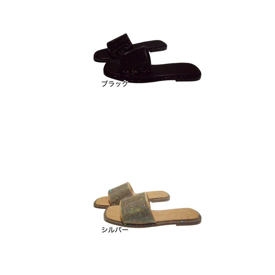Realta ビジューベルトのペタンコサンダル レディース ブラック/シルバー S/M/L/LL 7280s20 2