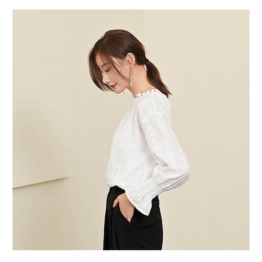 シャツ レディース ゆったりシャツ テレワーク  レディース 長袖 シャツ ブラウス  大人ゆったりシャツ おしゃれトップスカジュアルオフィス フォーマル ファッション シンプル 大人女子 上品 きれいめ 落ち感 通勤 オフィス レース 9
