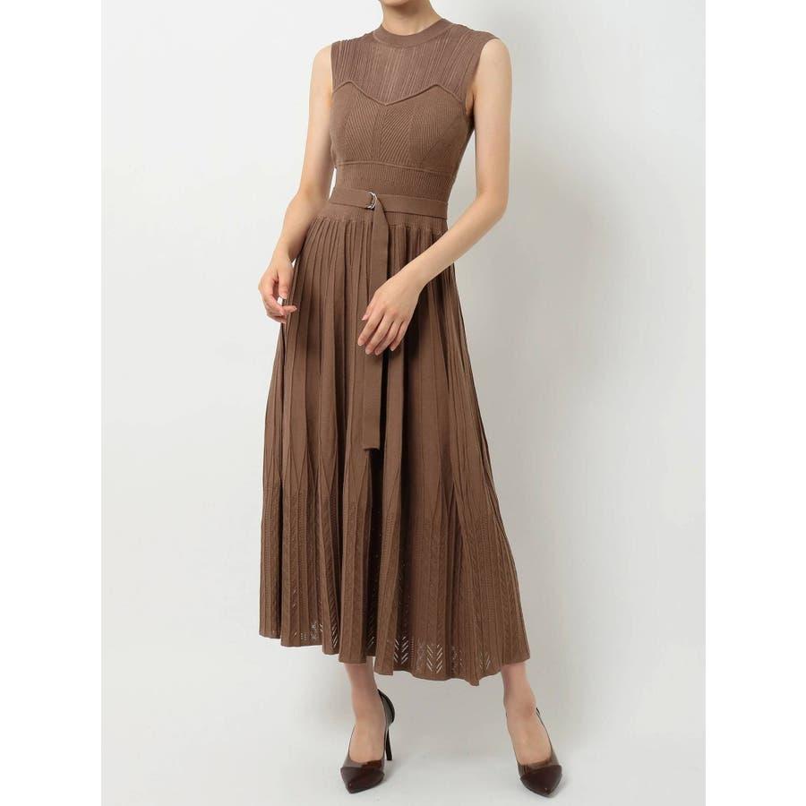 シアーリブレイヤードフレアニットドレス 2