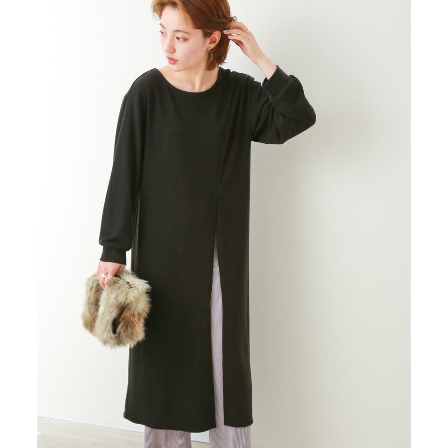 【WEB限定】重ね着を楽しむ コットン混のスリットワンピース 21