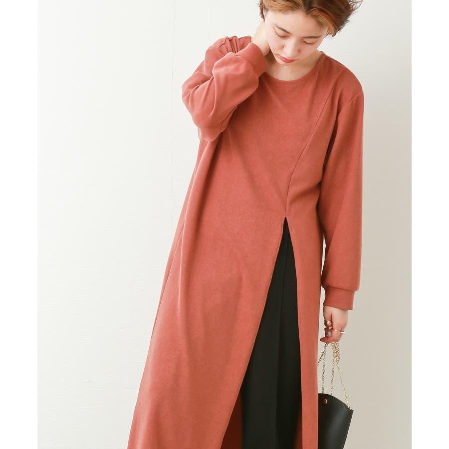 【WEB限定】重ね着を楽しむ コットン混のスリットワンピース 35