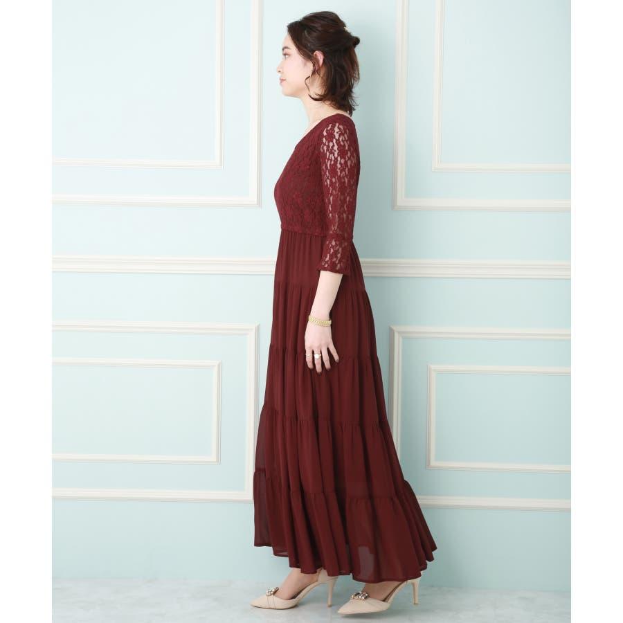 【結婚式・セレモニー】ティアードデザインが新しい♪レース切り替えドレス 2