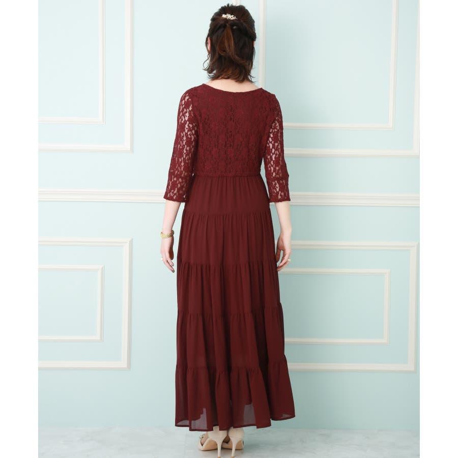 【結婚式・セレモニー】ティアードデザインが新しい♪レース切り替えドレス 3