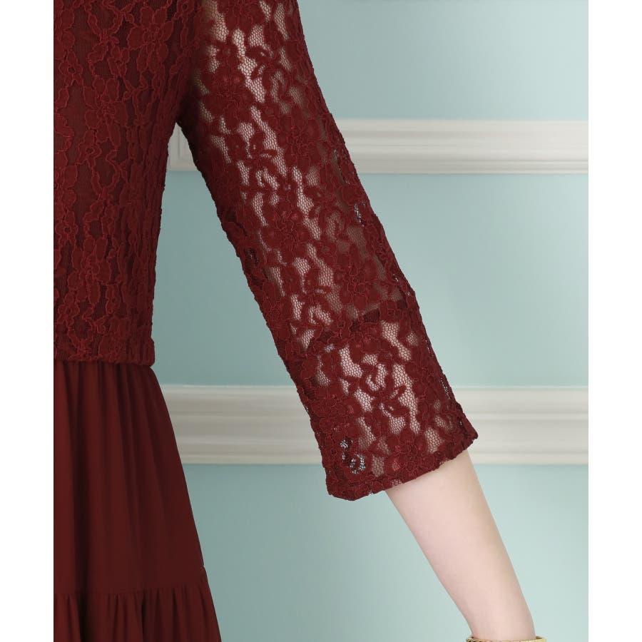 【結婚式・セレモニー】ティアードデザインが新しい♪レース切り替えドレス 5