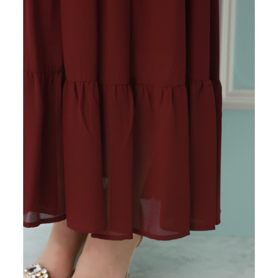 【結婚式・セレモニー】ティアードデザインが新しい♪レース切り替えドレス 6