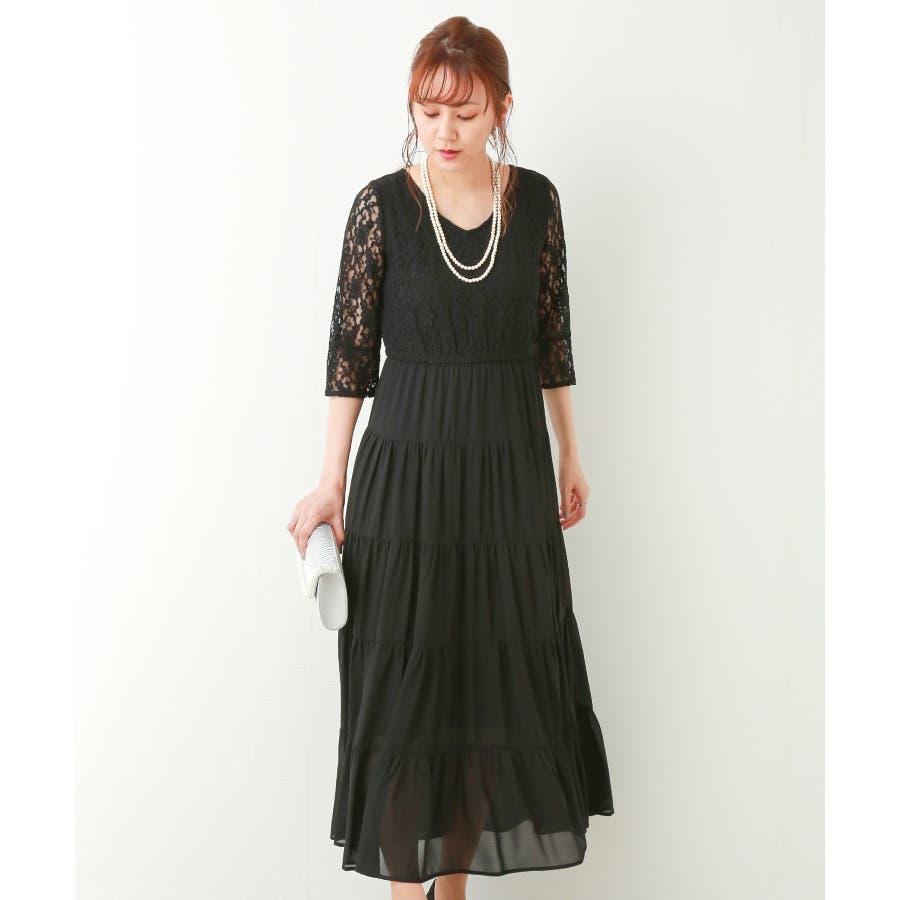 【結婚式・セレモニー】ティアードデザインが新しい♪レース切り替えドレス 21
