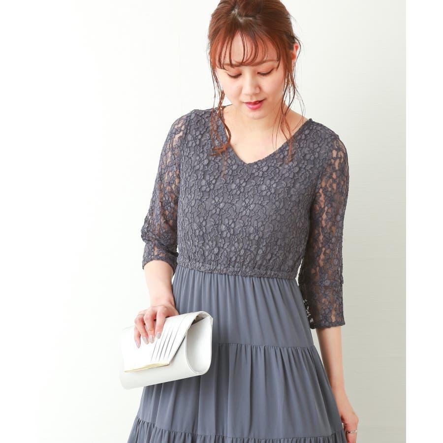 【結婚式・セレモニー】ティアードデザインが新しい♪レース切り替えドレス 26