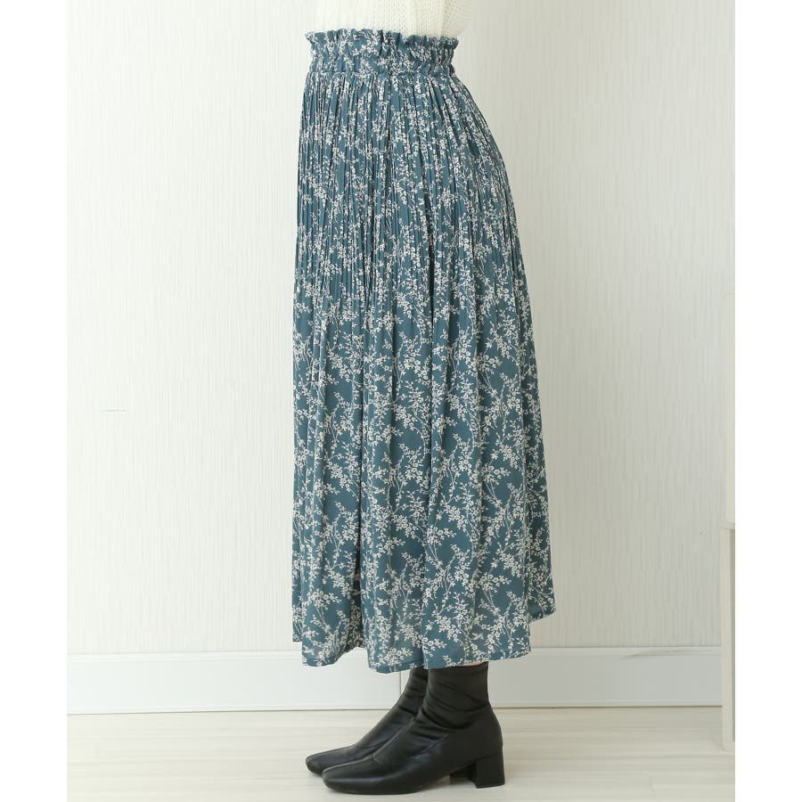 花柄ウエストフリルプリントスカート 2