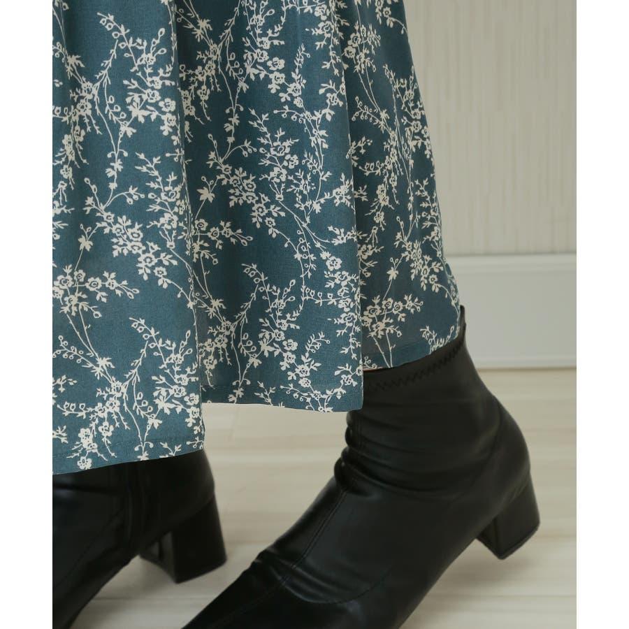 花柄ウエストフリルプリントスカート 5