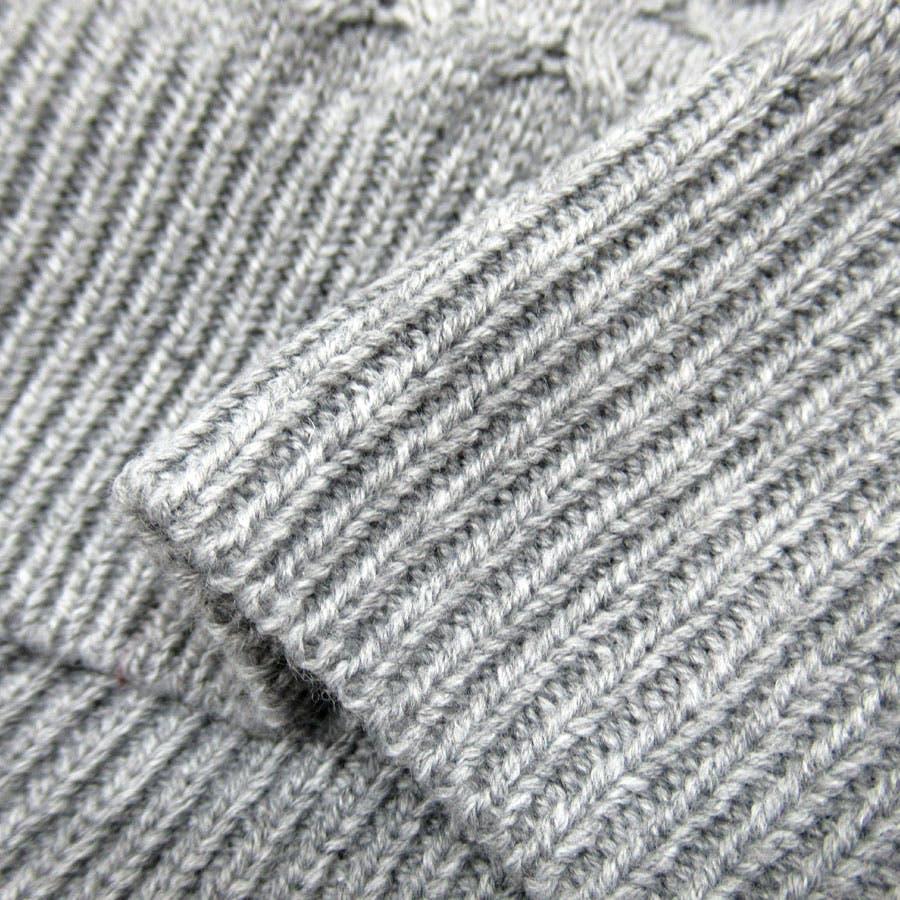ニット セーター メンズ 秋冬 ケーブル 切替え クルーネック ホワイト/グレー/ブラウン/ネイビー M/L/LL【 クルーネックあったか】 10