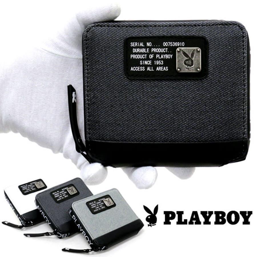 c64ee2390f88 PLAYBOY】プレイボーイ 二つ折り財布 財布 メンズ レディース 男女兼用 ...