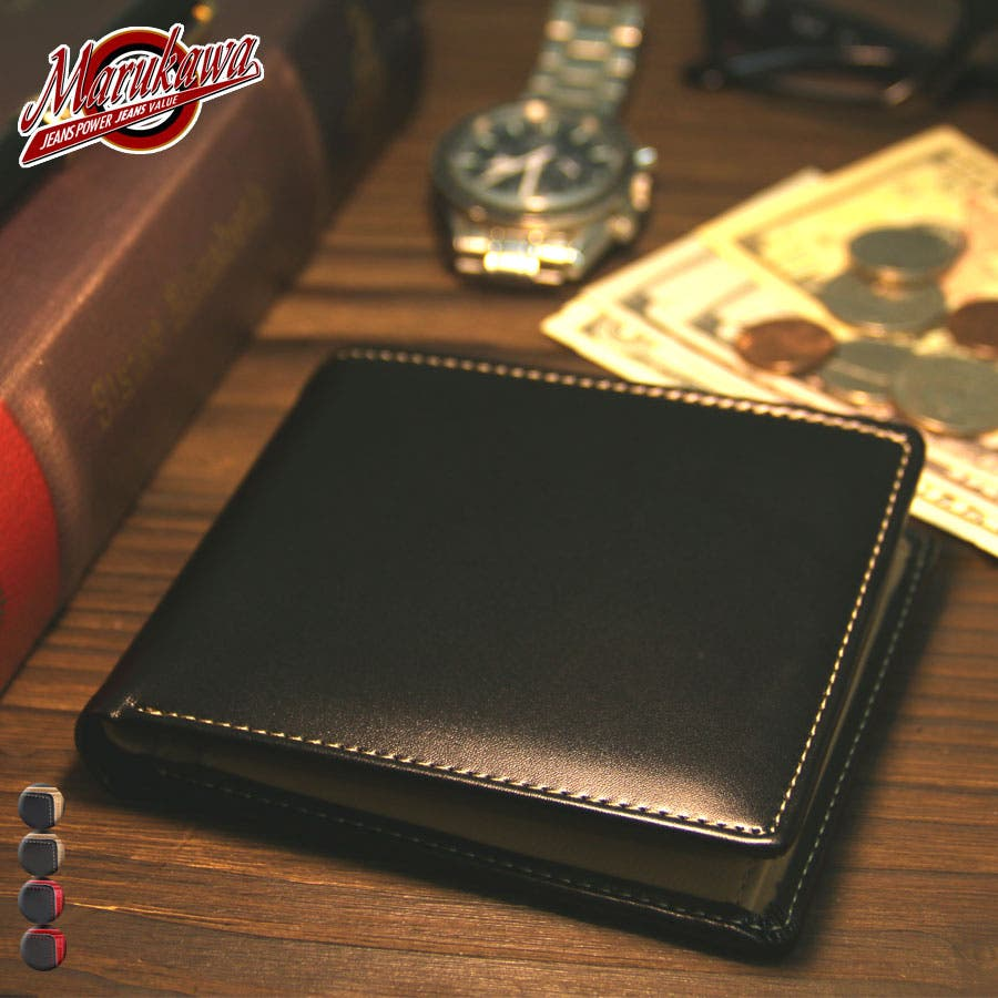 dd12b9142adb 二つ折り財布】牛革 合成皮革 財布 box型小銭入れ メンズ 財布 ...