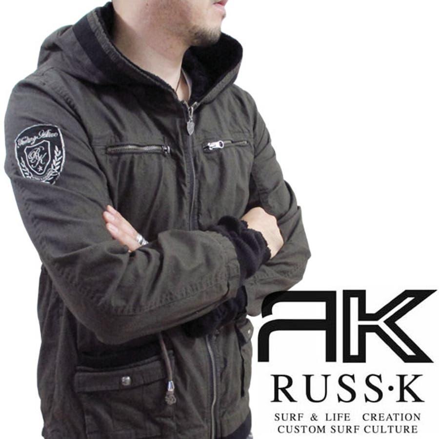 これでこのお値段はお得かなっ! メンズファッション通販RUSS-K ラスケー ~フード裏ボア~ワッペン付きフーデッドジャケット アメカジ ワッペン カジュアル サーフ ミリタリー アメリカン 暖 カリフォルニア ロサンゼルス ブルゾン パーカー 古着 ヴィンテージ ファイン 秋冬 アウター 瀑布