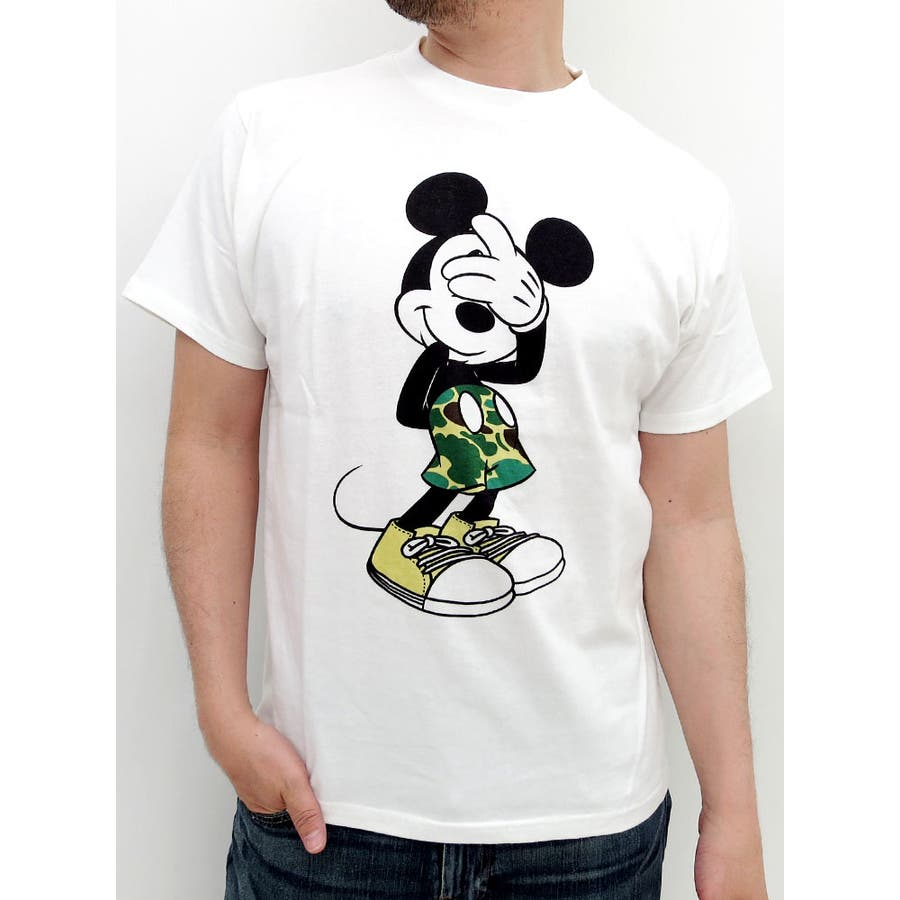 これからの季節使える ミッキーTシャツ メンズ カモフラパンツ ディズニーTシャツ 迷彩 キャラクター ペアルック tシャツ 白 黒 半袖  カジュアル Disney アメカジ ストリート レディース 偶然