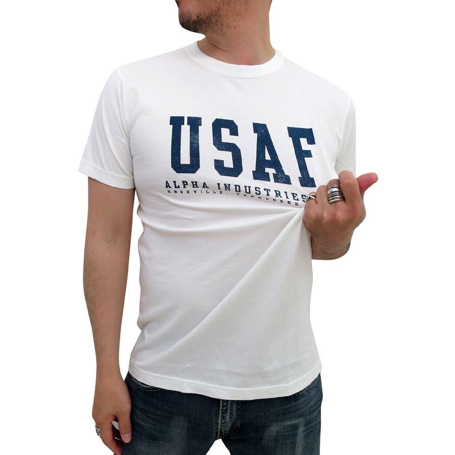 素材が良かったです! メンズファッション通販ALPHA INDUSTRIES アルファ ミリタリー ロゴ プリント Tシャツ 半袖メンズ  アメカジ カジュアル ストリート U.S.A.F. U.S.AIRFORCE ユーエスエアフォース 米軍 エアフォース army XL LL 語根