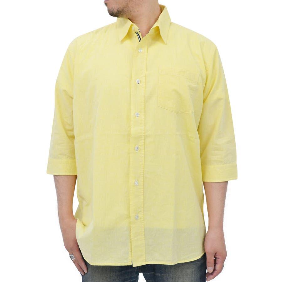 いち早く取り入れたい 大きいサイズ メンズ シャツ 5分袖麻混 キングサイズ 2L 3L 4L 5L 春 夏 無地 リネン 白 カジュアル クールビズ 涼 終幕