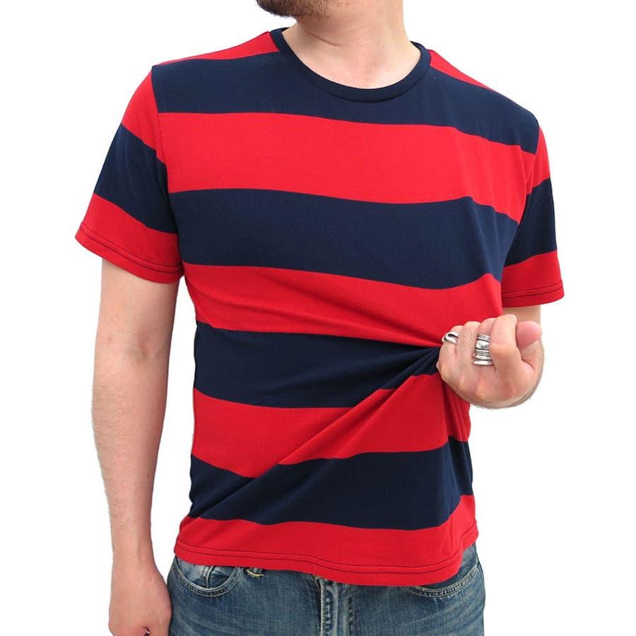 シンプルでさりげなく着れる メンズファッション通販ボーダー Tシャツ 半袖 メンズ クルーネックワイドボーダー  ブランド 白 黒 太ピッチ きれいめ シンプル マリン メンズファッション XL LL 極太 レディース カットソー 先染め カジュアル 駁雑