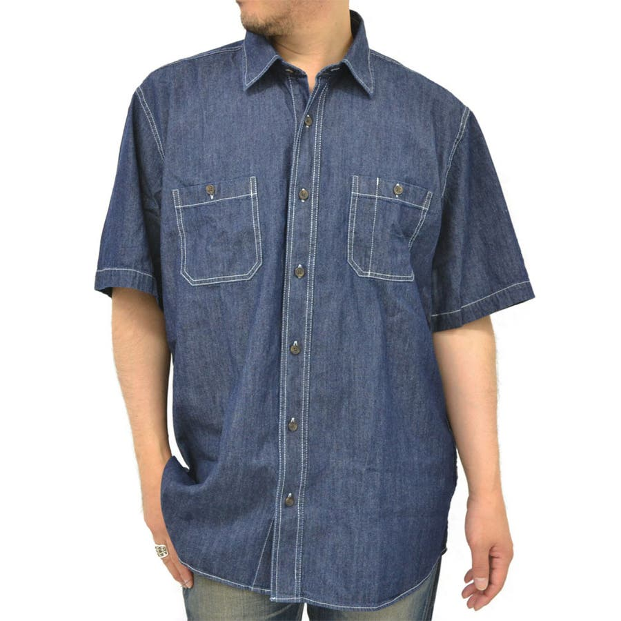 マンネリ防止! メンズファッション通販大きいサイズ メンズ シャツ 半袖デニム キングサイズ 2L 3L 4L 5L 夏  ワークシャツ アメカジ デニムシャツ 綿 コットンシャツ 頑丈 丈夫 極暑