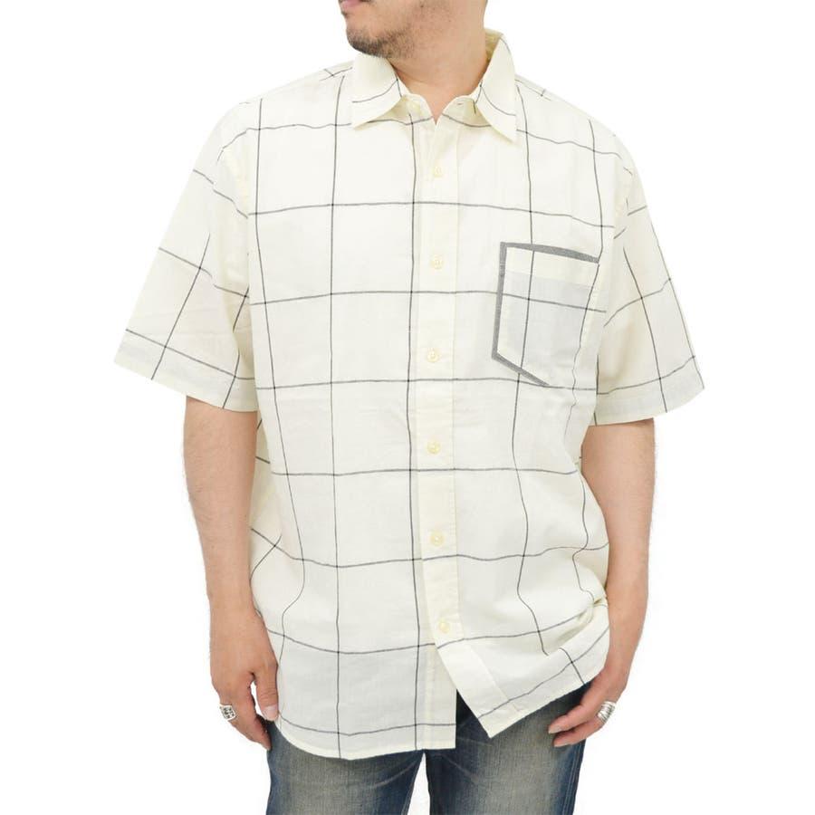 簡単に着こなせる メンズファッション通販大きいサイズ メンズ シャツ 半袖麻混 キングサイズ 2L 3L 4L 5L 夏  リネン きれいめ 白 黒 無地 チェック モノトーン カジュアル 提携