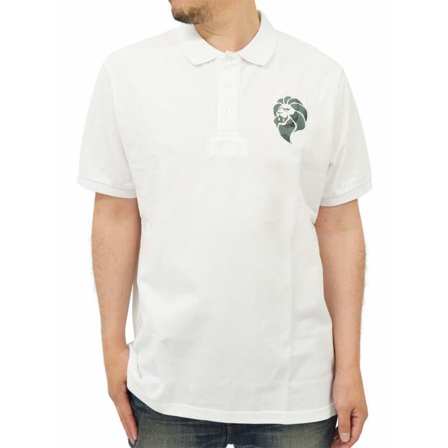 いち早く取り入れたい メンズファッション通販大きいサイズ メンズ ポロシャツ 半袖 迷彩刺繍 キングサイズ 2L 3L 夏  カノコ ストリート カモフラ ライオン 剛直