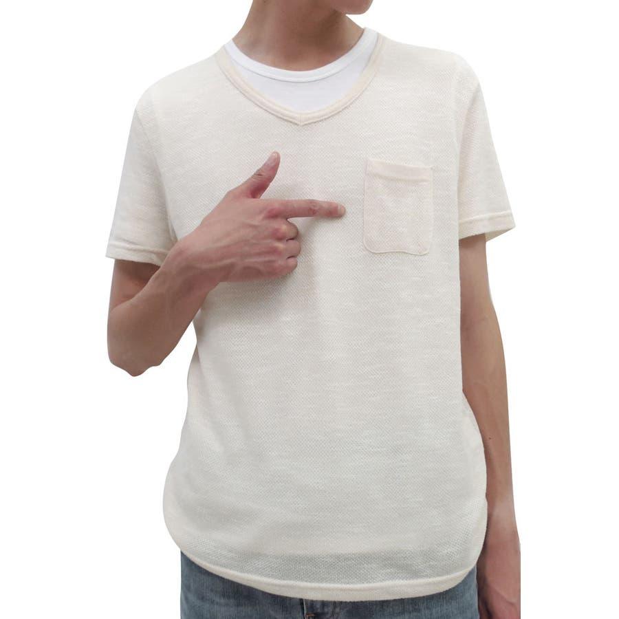 普段使いできる ニット メンズ 半袖 Vネック Tシャツセット  アンサンブル レイヤード 2点セット サマーニット セーター XL LL メンズファッション 五色
