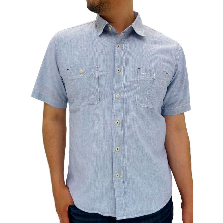 今、もっとも流行っている シャツ メンズ 半袖 ストライプ麻混  コットン 麻 カジュアル ワークシャツ ボタンダウン ヒッコリー メンズ半袖 夏 XL LL メンズファッション 初孫