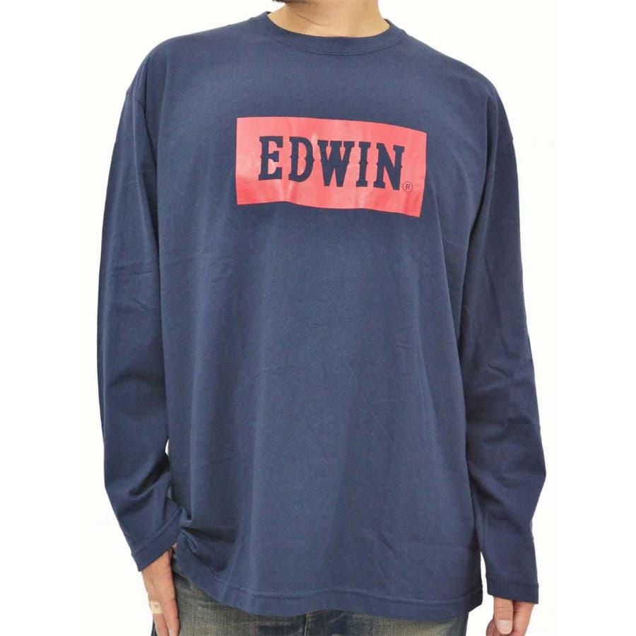 何度も着回しコーディネートできた メンズファッション通販大きいサイズ メンズ Tシャツ 長袖EDWIN キングサイズ 3L 4L 5L  エドウィン プリント ジーンズ ジーパン ロゴ  秋冬 抜毛