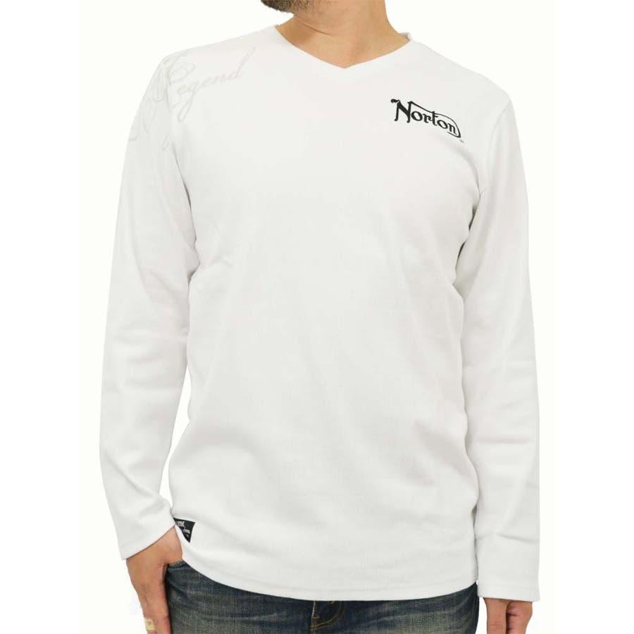 ばっちりです メンズファッション通販大きいサイズ メンズ Tシャツ 長袖 NORTON キングサイズ 3L  ノートン バイク バイカー Vネック 刺繍  秋冬 害意