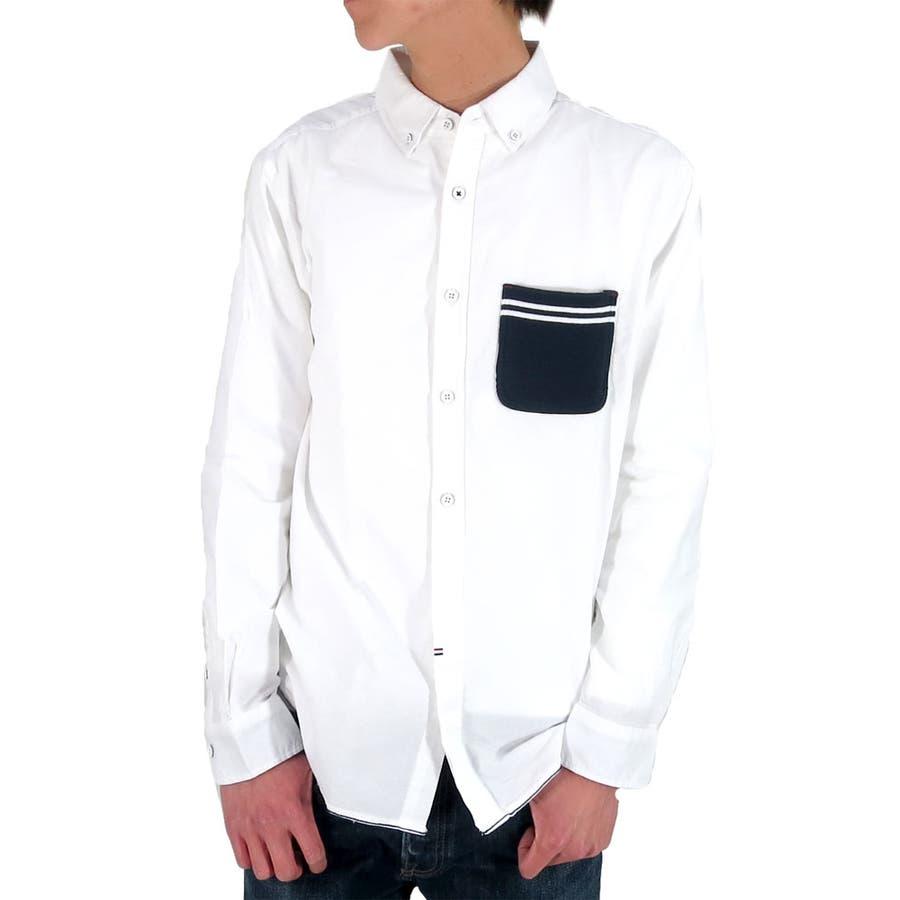 生地の質感がいいです メンズファッション通販シャツ メンズ ボタンダウン コットンシャツ長袖  ブランド 長袖 メンズファッション メンズカジュアル キレイめ 切り替え ニットポケット 綿 春 白 XL LL 起因
