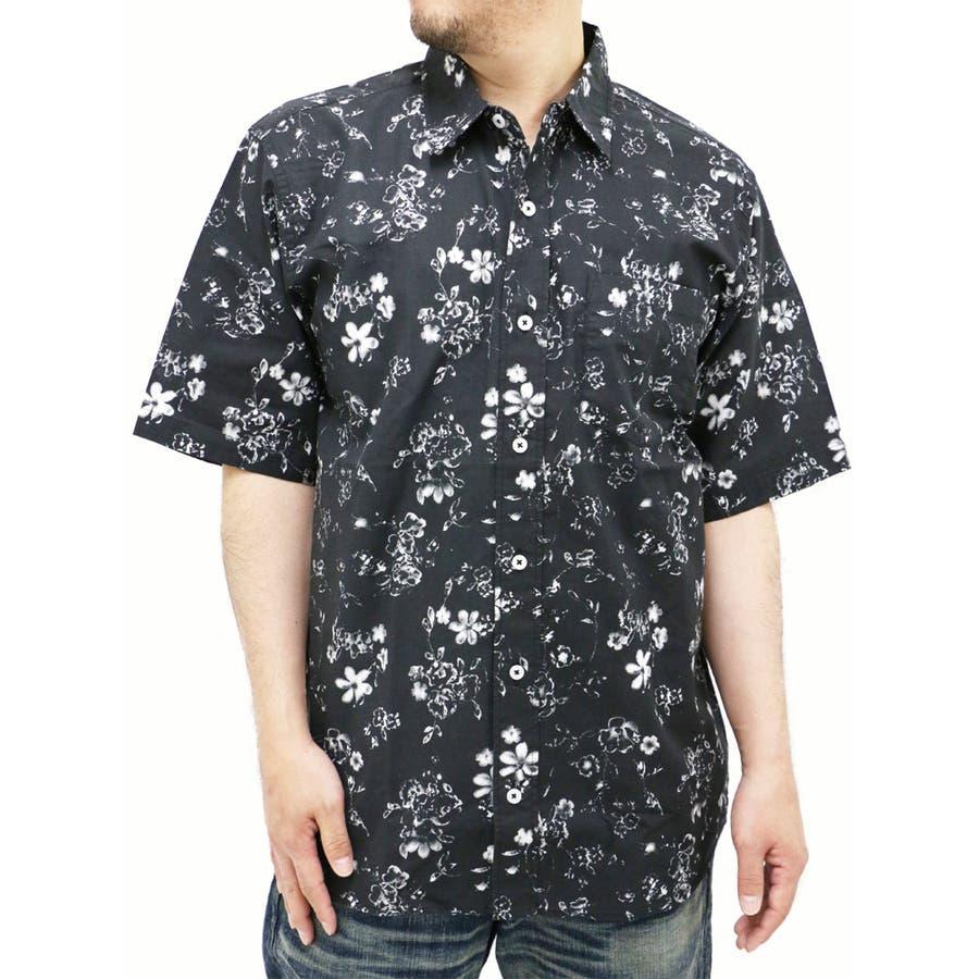 落ち着いた大人の印象 大きいサイズ メンズ シャツ 半袖麻混素材 キングサイズ 2L 3L 4L 5L  花柄 プリント リネン 麻 きれいめ シンプル 清潔感 フラワー 忽然