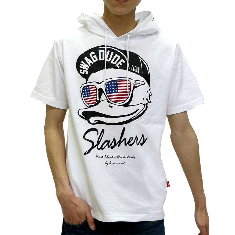 色んな服に合わせられる メンズファッション通販ビーワンソウル USAプリント パーカー Tシャツ 半袖  B ONE SOUL DUCKDUDE ダックデュード パーカーTシャツ フェイス ストリート メンズ カジュアル XL LL Tパーカー 愚昧